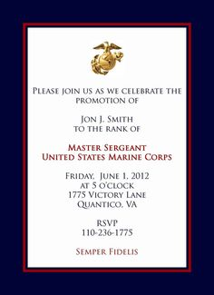 Marine Promotional Announcement Retirement Invitations Birthday Party Wedding Military Parties