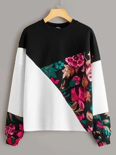 To find out about the Floral Print Colorblock Pullover at SHEIN, part of our latest Sweatshirts ready to shop online today! Mode Outfits, Casual Outfits, Fashion Outfits, Pullover, Sweat Shirt, Color Blocking, Colour Block, Fashion News, Ideias Fashion