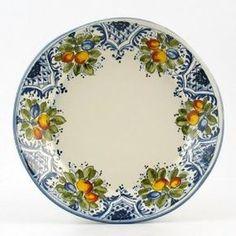 Hand Painted Italian Ceramic 11-inch Dinner Plate irregular shape Frutta Blu - Handmade in Montelupo, Tuscany. I'M IN LOVE