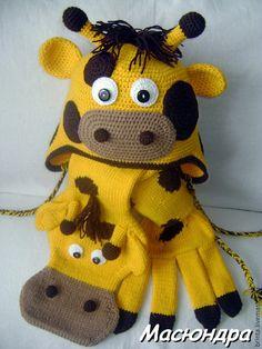 """Купить Комплект """"Солнечный жираф"""" - жираф, шапка-жираф, шарф-жираф, вязаная детская шапочка"""
