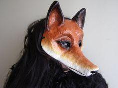 Handmade paper mache fox mask.