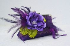 Bridesmaid Purple Peacock Clutch by Petite Vintage Handbags