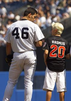 In 1999 New York Yankee pitcher Andy Petite {46} talks with 12 year old little leaguer Colby Rasmus (20).  Presently, Colby is in his fourth year in the Major Leagues, and is the Centre fielder for the Toronto Blue Jays.  <---this is awesome