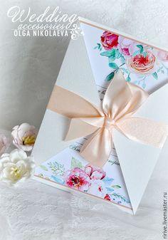 Купить или заказать Приглашение на свадьбу в интернет-магазине на Ярмарке Мастеров. Свадебное приглашение ручной работы выполнено из плотной акварельной бумаги. Украшено атласной лентой, которая завязывается на бант. Цвет ленты может любым. В стоимость входит: - приглашение - макет текста - цветная печать текста Текст может быть изменен по вашему желанию. Персонализация оплачивается дополнительно. Размер приглашения 12*17см. В таком же стиле возможно изготовление рассадочных… Business Invitation, Wedding Invitation Cards, Wedding Cards, Card Making Tips, Unique Cards, Creative Gifts, Invitation Design, Wedding Planner, Envelope