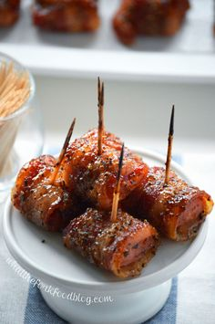 Bacon Wrapped Kielbasa Bites with Brown Sugar Glaze from @whattheforkblog