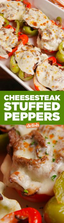 Cheesesteak Stuffed Peppers have all of the flavor, and half the carbs. Get the recipe from Delish.com.