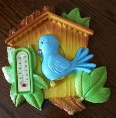 1984 Vintage Bluebird in Birdhouse Thermometer by EmptyNestVintage