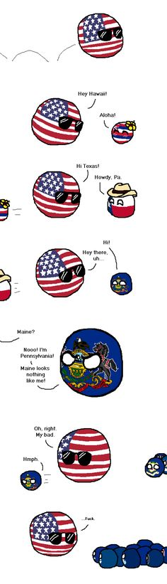 Distinguishing Traits ( USA, Hawaii State, Texas State, Pennsylvania ) by Mizuneko-chan #stateball #polandball #countryball