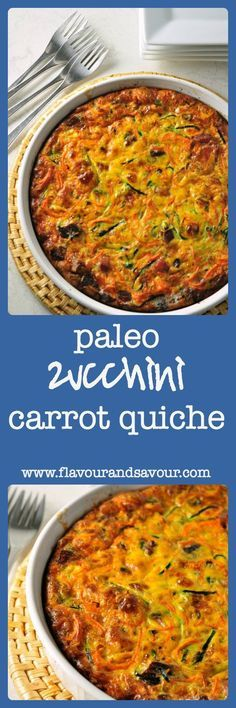 Paleo Zucchini-Carrot Quiche. A crustless quiche full of healthy vegetables and flavoured with bacon. from Flavour and Savour