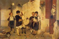 Το1872 ο Νικηφόρος Λύτρας ζωγράφισεμια ομάδα παιδιών διαφόρων εθνικοτήτων να λένε τα χριστουγεννιάτικα κάλαντα. Αρκούσε αυτό το έργο για να αποδοθεί στον κορυφαίο Έλληνα καλλιτέχνηο τίτλος του «ζωγράφου των Χριστουγέννων».