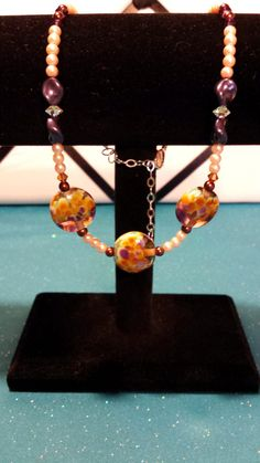 "Plum Rhapsody Lampwork Beaded 17"" to 20"" Adjustable Necklace"