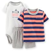 With bold stripes and cool contrast details, your baby boy will love cruisin' around in this set. Shorts are made to fit over his diaper so he'll stay comfortable.