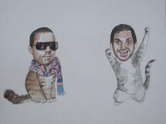 Aziz Ansari and Kanye West as best friend cats. Genius.