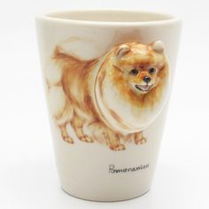 http://www.muddymood.com  Original hand sculpt and hand paint   Pomeranian Dog Ceramic Mug Handmade.