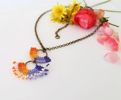 Boho Chic Textile Macrame Necklace with beads by KnottedWorld, €11.00