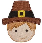 Pilgrim Boy Thanksgiving Holiday Applique Embroidered Patch