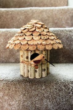 Wine corks made into a birdhouse. Picture only.