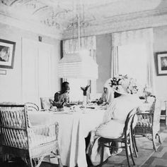 Tsar Nicholas ll of Russia having tea with his sister-in-law,Grand Duchess Elisabeth Feodorovna Romanova of Russia at the Martha and Mary Convent in Moscow in May 1912.A♥W