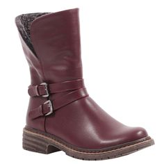 Burgundy ankle boots with fold down faux sherpa lining! How perfect for fall! via @wantedshoes