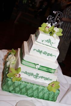 St. Patrick's Day Wedding Cake using Cake Stackers and Custom Made Monogram Cake Topper