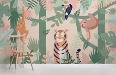 Kids Jungle Animal Friends Wallpaper Mural-Chair