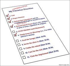 Skewed Conservative Christian Priorities