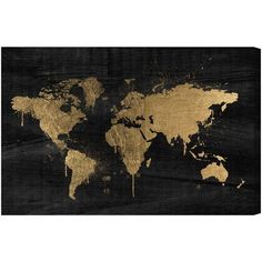 "Mercury Row Mapamundi Gold Graphic Art on Wrapped Canvas Size: 30"" H x 45"" W x 1.5"" D"