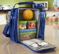 Packing healthy school lunches for your kids is easier when you can keep everything cool with an insulated lunch bag, as well as using ice packs that snap onto the food containers.