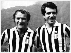 Stagione 1972/73: Josè Altafini e Roberto Bettega in ritiro a Villar Perosa, Juventus