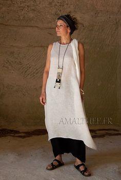 oatmeal linen gauze tunic and black sarouel -:- AMALTHEE -:- n° 3381
