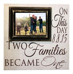 Blended Family Picture Frame Two Families Become One Personalized 16x16 sign with a 5x7 Picture Frame Madi Kay Designs -- You can get more details by clicking on the image.