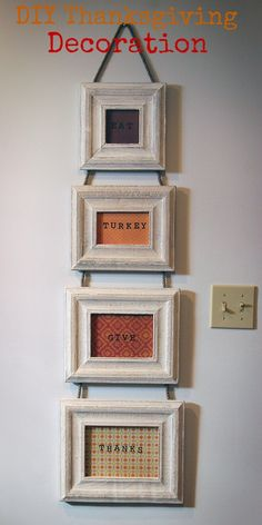#ad DIY Thanksgiving decoration made from a @Carla Costephens Plus World Market frames, stamps and craft paper