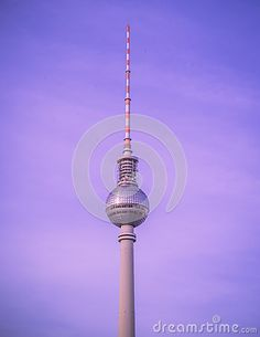 View of the Fernsehturm Television Tower located at Alexanderplatz in Berlin, Germany.