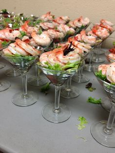 Delicious shrimp cocktail displays for the wedding guests!