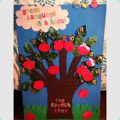 """Ali Navia - """"The Speech Tree"""" is a tree game board, where one-step directions behind the Velcro fruits guide each owl. This activity can be used with elementary school-aged clients and can be played as """"Articulation Apples,"""" """"Language Lemons"""" or """"Problem-Solving Pears."""" Apples, lemons and pears are laminated/can be modified for specific target words or other goals. (Apples are vocalic /r/ and voiced/voiceless """"th,"""" lemons are WH-questions, and pears are inferencing/final consonant deletion.)"""