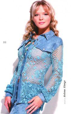 Комбинированная блузка ткань плюс крючок. С описанием и схемой