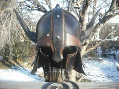 Leather Horned Barbarian Viking Gladiator by AquilonianLeather