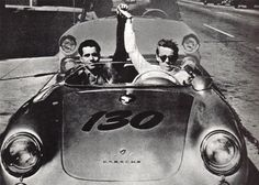 James Dean riding in his silver Porsche
