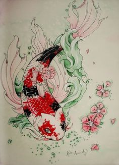 Japanese Dragon Koi Fish Tattoo Designs, Drawings and Outlines. The inspirational best red and blue koi tattoos for on your sleeve, arm or thigh. Koi Art, Fish Art, Fish Drawings, Art Drawings, Dragon Koi Fish, Koi Kunst, Japanese Koi Fish Tattoo, Tatto Design, Future Tattoos