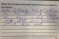 What does a Ronald McDonald Family Room mean to a child who uses it?
