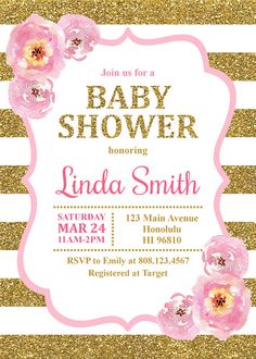 Pink and Gold Baby Shower Invitation Baby Girl Shower Invitation Gold Glitter Pink Floral Custom Printable Invitation Personalized Invitations, Printable Invitations, Invitation Cards, Birthday Invitations, Shower Invitation, Invitacion Baby Shower Originales, Baby Shower Invitaciones, Baby Shower Invites For Girl, Baby Boy Shower