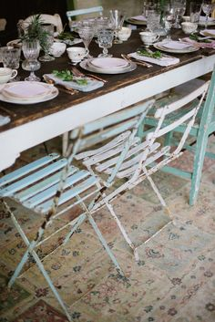 ♕ Backyard sustainable dinner party, vintage glass ware, mix and match chairs