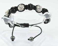 Bracelet shamballa-shambala-7 perles boules strass diamant-noir-hématite