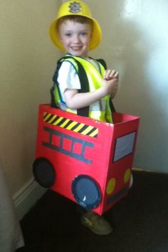Fire engine made out of an old nappy box just painted up for my sons dress up day at nursery. And a great new toy for afterward :-)