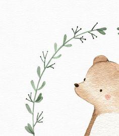 Bear print, Woodland animal print, Nursery decor, Nursery wall art, Nursery animal, Woodland themed Woodland Nursery, Woodland Animals, Hirsch Illustration, Nursery Wall Art, Nursery Decor, Bear Print, Baby Deer, Animal Nursery, Watercolor Animals