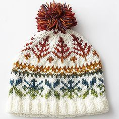Using Bernat Mosaic for the fair isle pattern in this hat creates an amazing gradient effect! (Bernat.com)