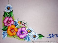 Fabric Painting Step by Step with Photos: Tablecloth fabric painting perfect love Paper Crafts Origami, Fabric Crafts, Flower Tattoo Designs, Flower Designs, Fabric Painting On Clothes, Fabric Paint Designs, Tablecloth Fabric, Tole Painting, Painting Flowers