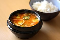 Doenjang Jjigae. A spicy korean stew not for the faint of heart. It is comfort food with a little seoul. Instead of anchovy stock, i use either fish oil, fish sauce, or dried anchovies that have been crushed. Or if you aren't into fish, chicken stock will work but also add some dried shitake or even file powder, to make up the umami flavor.