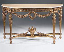 Estilo Luis XVI Mesa consola de madera tallada con motivos florales guirnalda, acabado antiguo de pan de oro y de Estremoz encimera de mármol con borde biselado curvo
