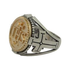 Jesuit Sterling Silver 925 & 10K Gold IHS the Holy Name of Jesus Mens Coin Ring